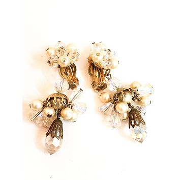 Faux pearl and Austrian crystal cluster drop vintage clip on earrings mid century