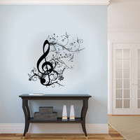 Floral Pattern Music Musical Treble Clef Housewares Wall Vinyl Decal Sticker Art Design Interior Decor Bedroom Recording Music Studio SV4162