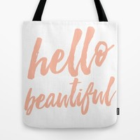 Hello Beautiful - Coral Typography Tote Bag by Allyson Johnson | Society6