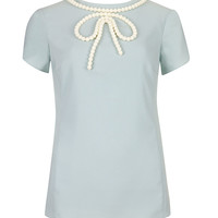 IANETE - Beaded bow top - Pale Blue | Womens | Ted Baker UK