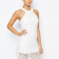 Fashion Union Lace Dress with High Neck at asos.com