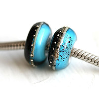 European charm beads, Large hole beads, Aqua Blue and Black, handmade lampwork, european bracelet beads - SRA, by MayaHoney