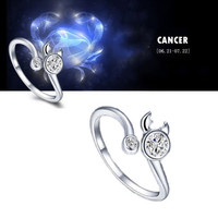 925 Sterling Silver 12 Constellations Zodiac Crystal Ring (Cancer)