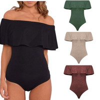 Sexy Leotard Women Bodysuit Short Rompers Ruffled Off Shoulder Bandage Playsuit Jumpsuit [9145169798]