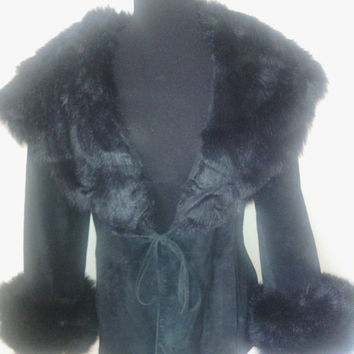 Women's Black Suede Coat / jacket Vintage Leather with faux fur collar and fur cuffs draw string waist 80's excellent condition/