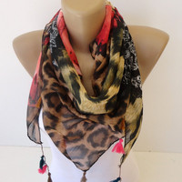 cheetah print scarf, scarves , cotton scarf, colorful