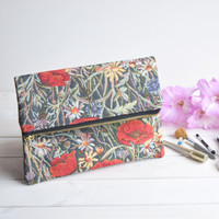 Poppies fold over clutch, zipped clutch, foldover clutch, fold over purse, purse, bridesmaids clutch, wedding evening bag, faux leather