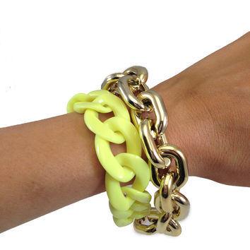 Neon & Gold Layered Chain Bracelet