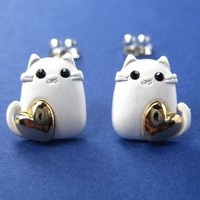 Kitty Cat Animal Earrings in Silver with Gold Hearts ALLERGY FREE from Dotoly Plus