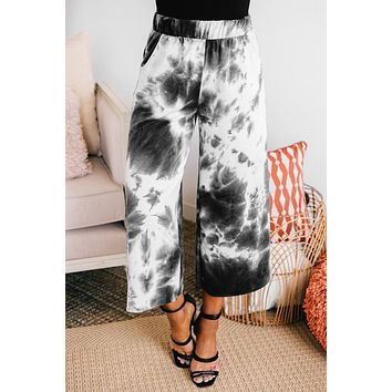 Free Spirit Tie Dye Wide Leg Pants (Black)