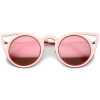 Womens Laser Cut Open Metal Mirror Lens Round Cat Eye Sunglasses 48mm