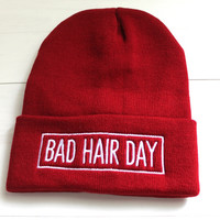 Bad Hair Day Red Beanie