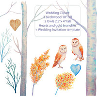 Wedding clipart - Hand painted watercolor birch wood,  2 owls and wedding templetes printable instant download  for  wedding invitations