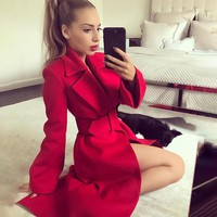 Women Simple Fashion Solid Color Cardigan Long Sleeve Lapel Long Section Woolen Coat