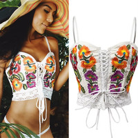 Flower Embroidery Sexy Crisscross Hollow Strap Vest Tank Top Cami