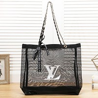 LV New fashion letter print transparent shoulder bag women handbag Black