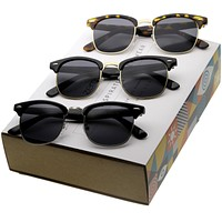 Premium Retro Horned Rim Half Frame Sunglasses A604 [Promo Box]