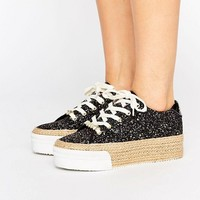 Juicy Couture Blainnne Glitter Espadrille Flatform Sneakers at asos.com