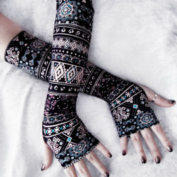 Desert Star Arm Warmers | Black Tan Turquoise Blue Berry Burgundy Floral Aztec Tribal | Yoga Victorian Mori Boho Gothic Bellydance Cycling