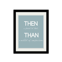 "Then and Than. Grammar Poster. Kids Bedroom Poster. Teacher poster. Classroom print. Educational. 8.5x11"" Print."