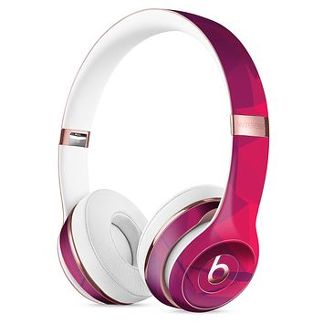 Pink and Bright Red Abstract Triangles Full-Body Skin Kit for the Beats by Dre Solo 3 Wireless Headphones
