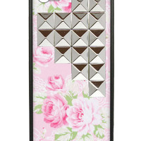 Pink Lace Floral Silver Studded Pyramid iPhone 5/5s Case