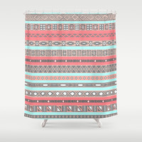 Peach Rose Baby Blue Aztec Tribal Native Pattern Shower Curtain by RexLambo