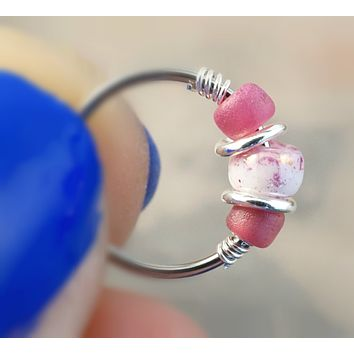 18 or 20 Gauge Rose Pink Nose Hoop Ring or Cartilage Hoop Earring