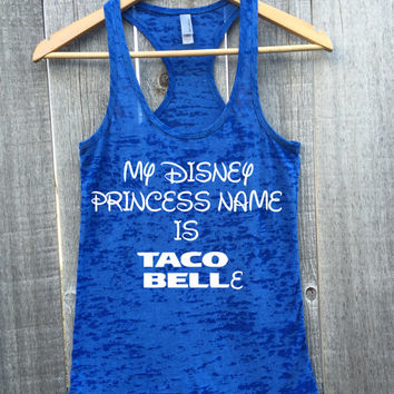 My Disney Princess Name Is Taco Belle Workout Athletic Fitness Gym Racerback Tank Top