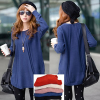Fashion Women's New Korean Medium-long Loose pullover knitted sweater dress tops F_B 19309