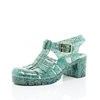 River Island Womens Green glitter block heel jelly shoes