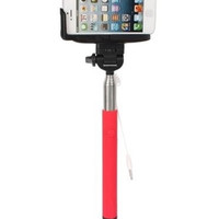 Wired Selfie Stick with Shutter Button Red