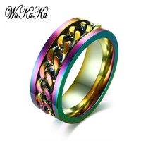 Rainbow Stainless Steel Chain Gay Pride Rings for Man Boy lgbt Real Love Couple Men Jewelry 2018 Fashion