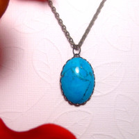 Green Turquoise Stone Pendant Necklace