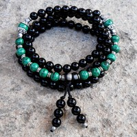 Intuition and Patience, Onyx and Malachite 108 Bead Mala