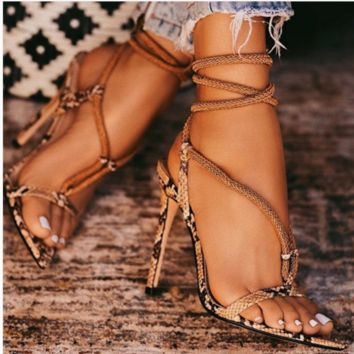 Hot style pointy crossed strappy snake-print high heel sandals