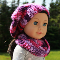 purple and pink mix beret style crochet slouch hat with infinity scarf,  18 inch doll clothes, American girl, Maplelea