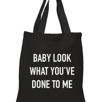 """One Direction """"Stockholm Syndrome - Baby look what you've done to me"""" 100% Cotton Tote Bag"""