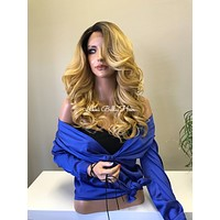 Blonde Balayage Ombré Light Human Hair Blend Curved Parting Lace Front Wig - Sonya 91729