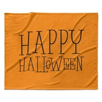 "KESS Original ""Happy Halloween - Orange"" Fleece Throw Blanket"