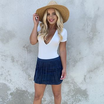 Fringe With Benefits Navy Blue Suede Skirt