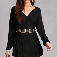 Ruffled Peasant Mini Dress