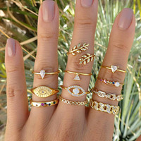 14K Yellow Gold 11-Piece Minimalist Bohemian Pav'e Ring Set