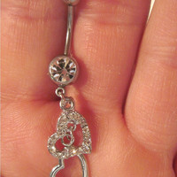 Navel Belly Button Ring Crystal Barbell Silver Tone Double Hearts Crystals Naval