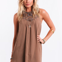 Chase The Sun Embroidered Dress In Taupe