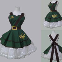 Video Game  Legend of Zelda style  100% cotton green sexy woman cosplay retro apron