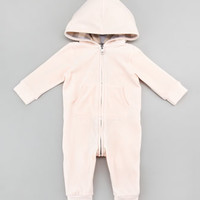 Velour Hooded Coveralls, Ice Pink, 3-24 Months