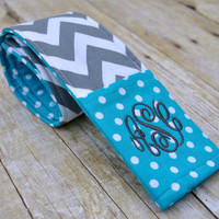 Monogrammed chevron camera strap cover (teal/gray)