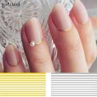 1 sheet Gold Curve Stripe Lines 3D Nail Sticker Adhesive Striping Tape Sticker Decals Tips Manicure Nail Art Decals