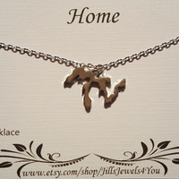 Great Lakes Home Charm Necklace, Michigan Necklace, Illinois Necklace, Lake Superior, Love Michigan, Michigan Jewelry, Wisconsin Necklace